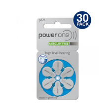 Power One Hearing Aid Batteries Size 675 MERCURY FREE (30 Batteries) PR44, 0%H