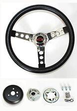 "Black & Chrome Steering Wheel Red/Black cap 13 1/2"" Fits Ididit Flaming Column"