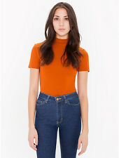 NWT American Apparel Ponte Mockneck Top XS Extra Small Orange Umber