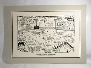 "Cincinnati Reds "" CROSLEY FIELD "" Historical Lithograph Print 22""X17"""