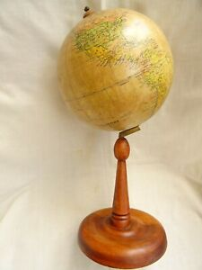 Antique Hungarian Desk Globe Wooden Stand 1920-30