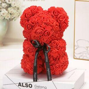 Ours en Rose Eternel Nounours Mousse Cœur d'Amour Fleur Cadeau amoureux