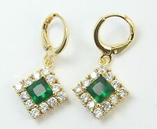 Women's 18 Carat Gold Plated Green Zircon Huggie Hoop Dangle  Earrings Jewellery