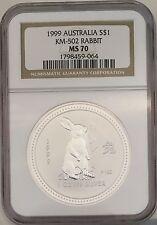 Australia 1999 S$1 Silver Rabbit 1oz. NGC MS70 Coin Australian Brown Label