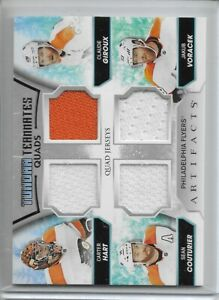 2020-21 UD Artifacts Quad Relic Claude Giroux Carter Hart Sean Couturier Flyers