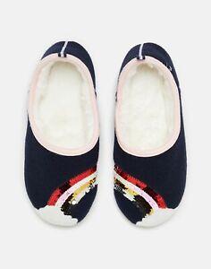 Joules Womens Slippet Felt Mule Applique Slippers - Navy Rainbow