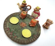 Mouse Miniature Tea Set 10 Piece Made of Polystone Resin Unmarked Popular Import