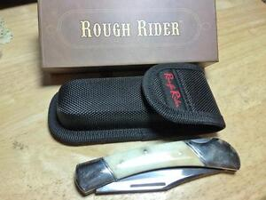 "Rough Rider Smooth White Bone Folding Hunter 5"" Pocket Knife w/Sheath RR067"