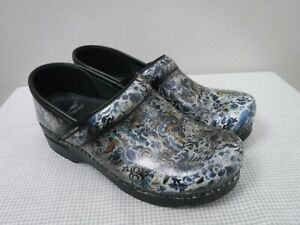 DANSKO PROFESSIONAL 7.5 8 38 Floral Butterfly Staple Slip On Clogs Work Shoes