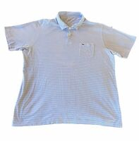 Vineyard Vines Mens Pima Cotton Striped Button Polo Shirt Blue White Size XL