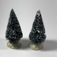 """Lemax Christmas Village Accessories 2 piece Bottle Brush Snow Covered Trees 4"""" T"""