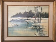 """Gerald Cameron Lilly (American,1939-2013) Original Oil Painting """"Moods of Winter"""
