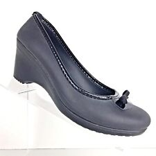 Crocs Lydia Wedge Heels Gray Charcoal Bow Detail Womens Comfort Shoe SIZE 9