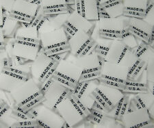 25 PCS WHITE TAFFETA WOVEN CLOTHING CARE LABEL - MADE IN USA