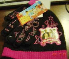 SET Hat GLOVES High SCHOOL MUSICAL Pink Black WILDCATS Disney Acrylic GIRLS