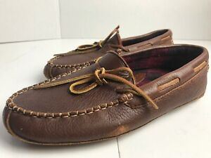LL Bean Men's Soft Leather Moccasins Slip On Slippers Size 7 Flannel Lined