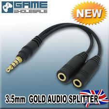 DORADO SEPARADOR AUDIO 3.5mm Jack Auricular Casco Adaptador Sonido Y Cable negro