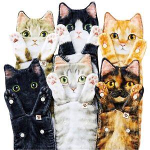Lovely Cat Hand Towels Long Cat Shape Wipe Handkerchiefs Bath Towels Bathroom