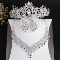 African Beads Wedding Jewelry Set Baroque Crystal Tiaras Crown Necklace Earrings