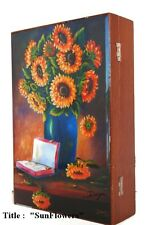 "Wooden Humidor Cigar box w/ ""Sun Flowers"" Oil Paintings on Top ."