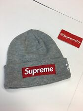 Supreme Box Logo Heather Gray Beanie x New Era FW15