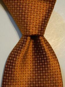ERMENEGILDO ZEGNA Men's 100% Silk Necktie ITALY Luxury Geometric Orange/Blue EUC