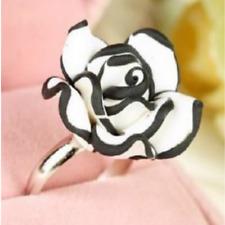 Big Flower Rose Black Resin Adjustable Ring White Girls Ladies Prom Party