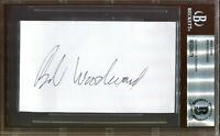 Bob Woodward Watergate Signed Index Card Authentic Autograph Beckett BAS COA *79