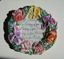 "Fitz And Floyd Spring Bouquet  Plate, ""Thinking Of You"", Colorful Raised Floral"