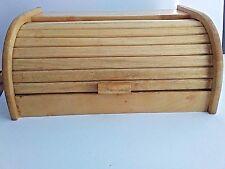 "Retro Bamboo Bread Box Rolltop Kitchen Storage Wooden Bin 15 3/4"" x 11"" x 7"""