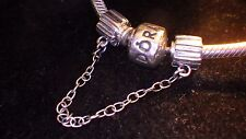 UNBRANDED ANTIQU 925 STER SILVER RIBBED OR CHANNELED SCREW ON SAFETY CHAIN CHARM