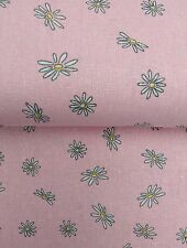 """VINTAGE FLORAL DAISY  BABY PINK COTTON LINEN fabric 60"""" sold by the metre"""