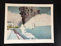 Vintage Southern Pacific Railroad Souvenir Illustration Bucking Snow In Sierras