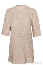 Zara knit new longue ligne femmes câble pull tunique caramel à manches courtes