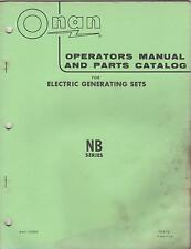 ONAN NB SERIES ELECTRIC GENERATING SETS OPERATOR'S & PARTS MANUAL (531)