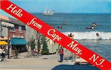 Cape May New Jersey~Banner Greetings~Washington Mall~Surfers & Bathers~1970s PC