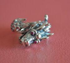 925 Sterling Silver Men Tail Wrap Ruby Eyes Dragon Ring - Adjustable Dragon Ring