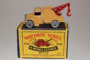 MATCHBOX LESNEY #13B BEDFORD WRECK TRUCK, METAL WHEELS,  EXCELLENT, BOXED