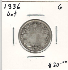 Canada 1936 Silver 25 Cents Dot G