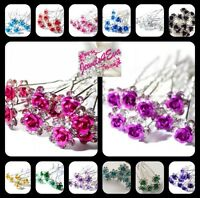Bridal Wedding Crystal Diamante Flower Rose Jewellery Hair Pin Clip Accessory