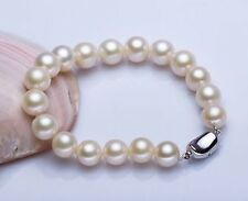 """white round pearl bracelet 7.5-8""""L Aaa 9-10mm natural south sea"""
