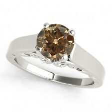 0.75 3/4 Carat Brown Champagne Diamond Solitaire Wedding Ring Best in Price 14k