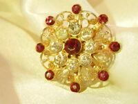 Ornate Vintage 50's Gold Tone Filigree Red Rhinestone Flower Brooch 125o7