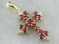 14k Yellow Gold Over 2.00Ct Round Cut Red Ruby & Diamond Cross Pendant Necklace
