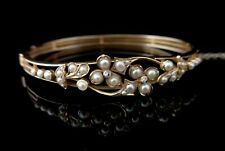 Antique Victorian 18ct gold bangle, Pearl and diamond, 22ct