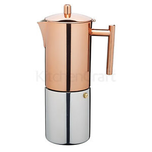 Kitchencraft LeXpress Stainless Steel Copper Effect 600ml 10 Cup Espresso Maker