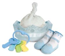 Stephan Baby Royalty Col. Knit Crown, Socks and Rattle Gift Set, 0-6 Months