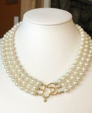 Estate 14K Yellow Gold Triple Pearl Necklace Signed DM LIND