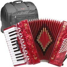 Rossetti 2648 Piano Accordion 16 Key 32 Bass 3 Switch Red With Bag and Straps