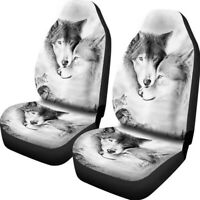 2PCS Front Car Seat Cover 3D Print Wolf Pattern Universal Truck Protector Covers